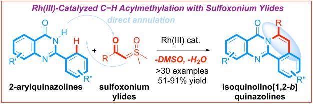 Sulfoxonium ylides C-H annulation isoquinolino quinazolines