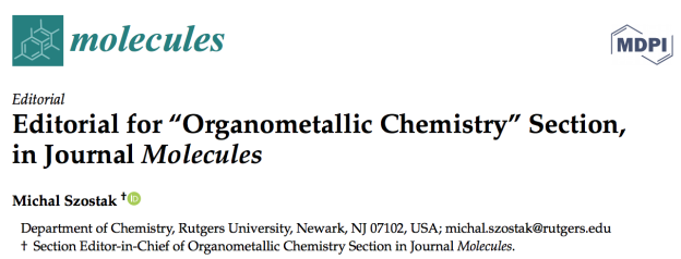 molecules-organometallic-section-editorial