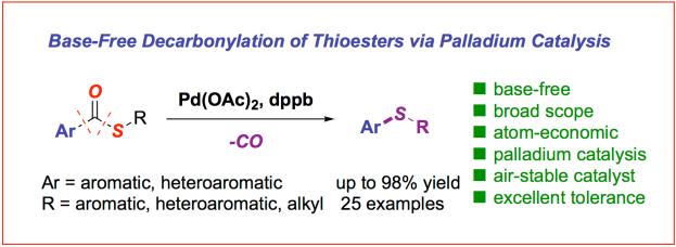 Base free palladium-catalyzed decarbonylation of thioesters