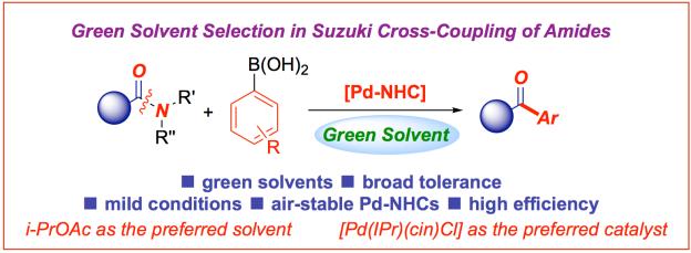 Green solvent selection amide bond Suzuki cross-coupling